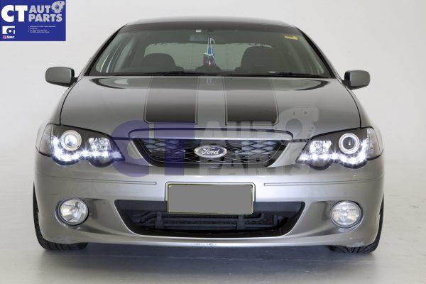 Black DRL LED Head Lights for 02-08 Ford Falcon BA BF XR6 FPV XR8 Sedan Ute -12143