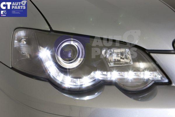Black DRL LED Head Lights for 02-08 Ford Falcon BA BF XR6 FPV XR8 Sedan Ute -0