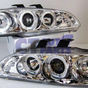 Clear LED Projector Angle Eyes Headlights for 92-95 HONDA CIVIC EG Si SiR Vti-0