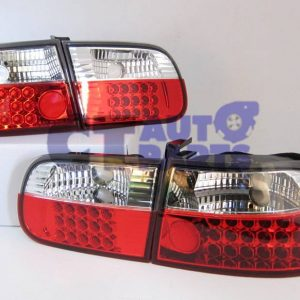 JDM CLEAR RED LED TAIL LIGHTS for 92-95 HONDA CIVIC EG 3D Hatch-0