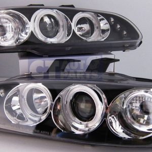 Black LED Angel Eyes Projector Headlights for 92-95 HONDA CIVIC EG Si SiR Vti-0