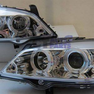 Clear Chrome LED Angle Eye Projector Headlights for 98-04 Holden Astra G TS -0