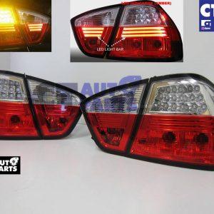 Clear Red LED Tail lights for 05-08 BMW E90 Sedan 320i 323i 325i 335I 330i M3-0