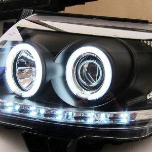 Toyota Hilux VIGO Black DRL LED Angel-Eyes Projector Head Lights 11-14-0