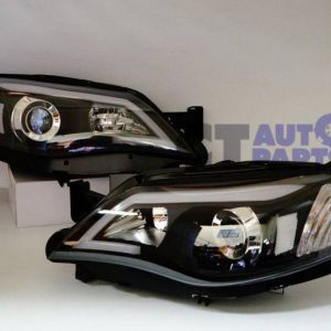 Black LED DRL Day-Time Projector Head Lights for 08-13 Subaru Impreza RS WRX Sti -0