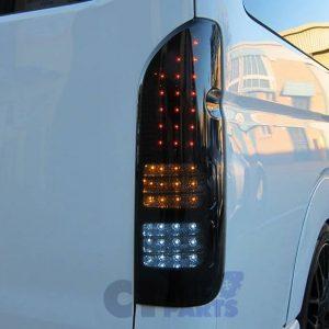 Full Smoked Black Full LED Tail Lights TOYOTA HIACE VAN 04-14 Taillight-0