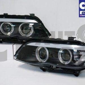 CCFL Angel-Eyes Projector Head Lights BMW X5 E53 04-06 LCI face-lift Headlights-0