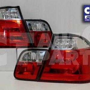 LED Light Bar Tail Lights BMW E46 02-05 4D Sedan 318i 320i 323i 330i CLEAR RED-0