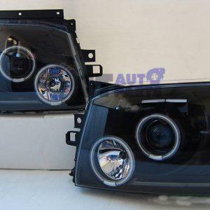 Black LED Angel Eyes Projector Head Lights for 04-10 Toyota Hiace -0