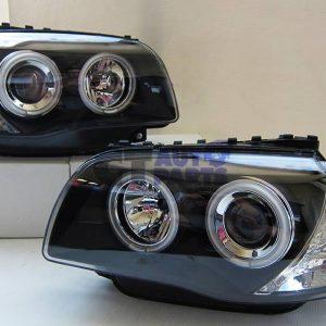 LED Projector HeadLight Black Head Lights Angel-Eye for 04-11 BMW E81 E82 E87 E88-0