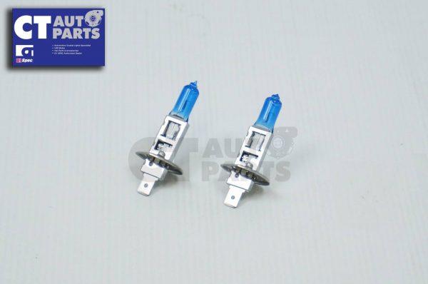 2 x H1 12V 100W White/Blue Halogen Car Headlights Globes / Bulbs 4500K-5230
