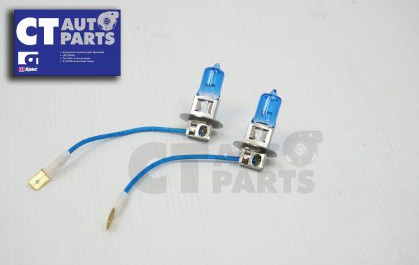 2 x H3 12V 55W White/Blue Halogen Car Headlights Globes / Bulbs 4500K-0