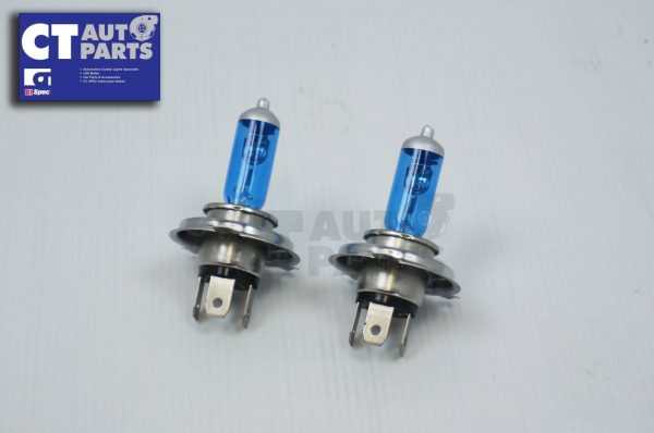 2 x H4 12V 55W Hi/LOW White/Blue Halogen Car Headlights Globes / Bulbs 4500K-0