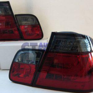 LED Light Bar Tail Lights BMW E46 98-01 4D Sedan 318i 320i 323i 330i Smoked Red-0