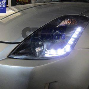 DRL LED Black Projector Headlights 03-05 Nissan 350Z Z33 Fairlady HALOGEN TYPE-0