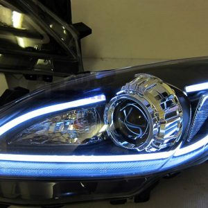 Black 3D DRL LED Projector Head Lights MAZDA 3 09-13 Sedan & Hatch Headlight-0
