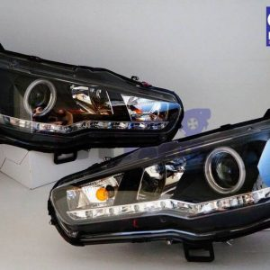 CCFL Angel Eyes DRL LED Head Lights Headlight 07-19 Mitsubishi Lancer EVO X CJ -0