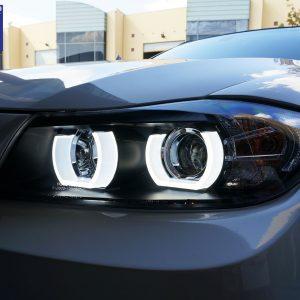 Black 3D LED DRL Angel-Eyes Projector Head Lights for BMW 3-Series E91 E90 05-08 Sedan -0