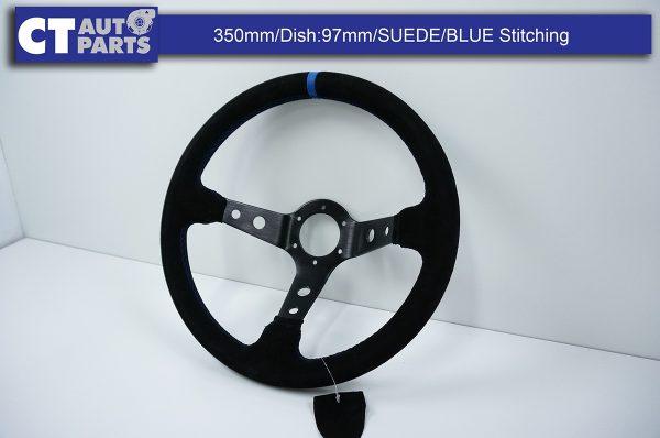 350mm Steering Wheel SUEDE Blue Stitching 97mm DEEP Dish -8124