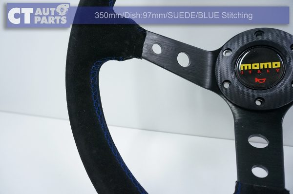 350mm Steering Wheel SUEDE Blue Stitching 97mm DEEP Dish -8116