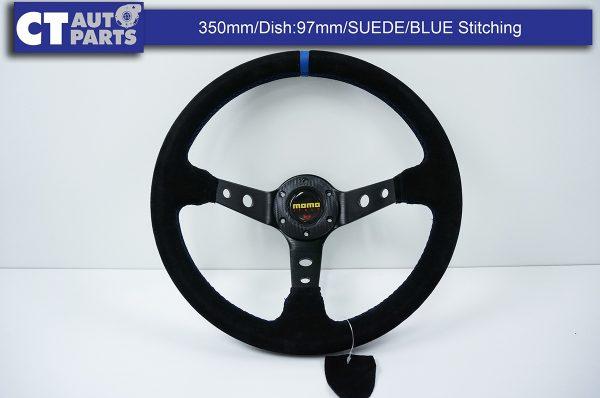 350mm Steering Wheel SUEDE Blue Stitching 97mm DEEP Dish -8115