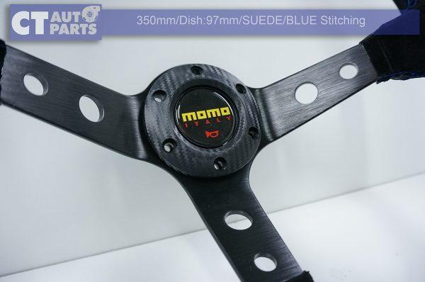 350mm Steering Wheel SUEDE Blue Stitching 97mm DEEP Dish -8118