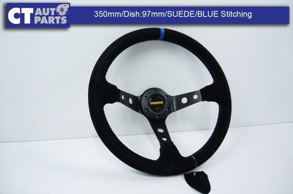 350mm Steering Wheel SUEDE Blue Stitching 97mm DEEP Dish -0