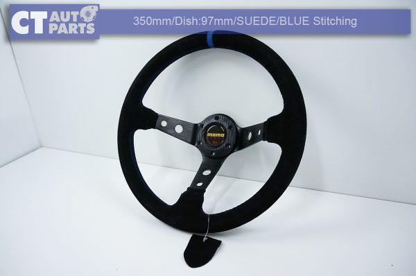 350mm Steering Wheel SUEDE Blue Stitching 97mm DEEP Dish -8120