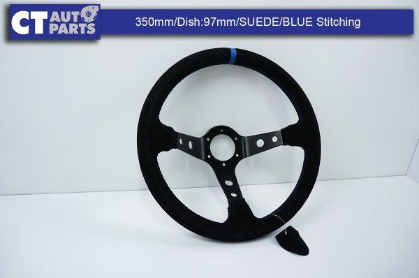 350mm Steering Wheel SUEDE Blue Stitching 97mm DEEP Dish -8121
