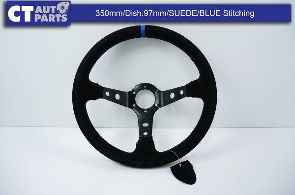 350mm Steering Wheel SUEDE Blue Stitching 97mm DEEP Dish -8123
