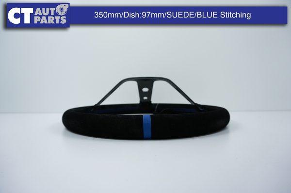350mm Steering Wheel SUEDE Blue Stitching 97mm DEEP Dish -8122