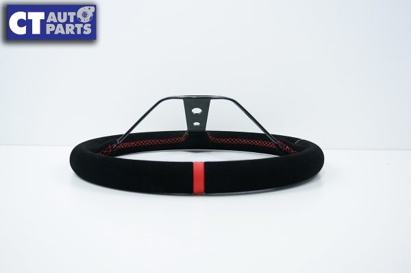 350mm Steering Wheel SUEDE RED Stitching 97mm DEEP Dish -9111