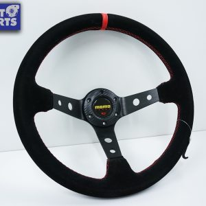 350mm Steering Wheel SUEDE RED Stitching 97mm DEEP Dish -0