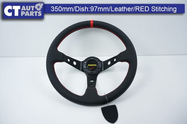 350mm Steering Wheel LEATHER RED Stitching 97mm DEEP Dish-0