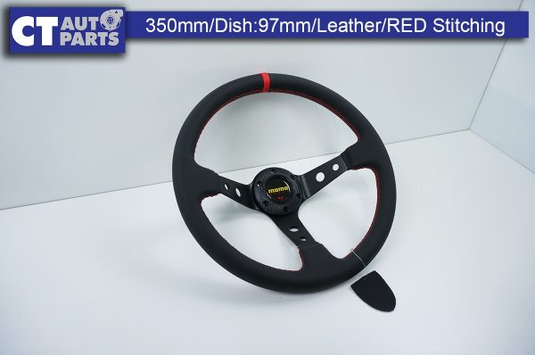 350mm Steering Wheel LEATHER RED Stitching 97mm DEEP Dish-9124