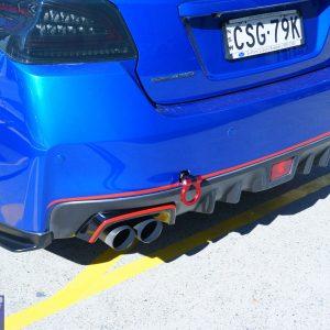 STI Style Black Red Exhaust Cover Heat Surround For 14-19 Subaru WRX STI V1 V2-0