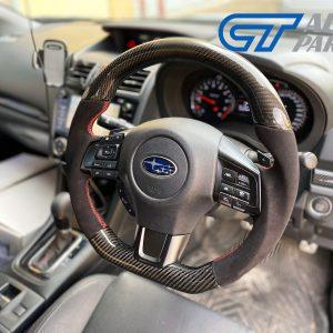 Carbon Fibre Alcantara Steering Wheel Red Stitching 14-19 Subaru WRX STI LEVORG -0