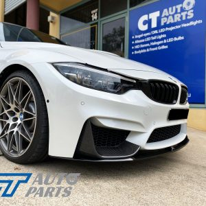 M Performanceloss Glossy Black Front Lip / Carbon Splitters for 14-19 BMW M3 F80 M4 F82-0