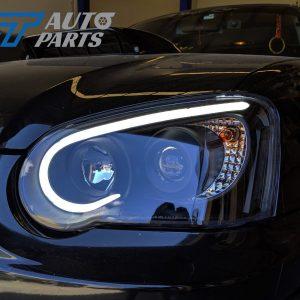 Black 3D LED Angle Eyes Projector Headlights for 03-05 SUBARU IMPREZA WRX RX STI GD -0