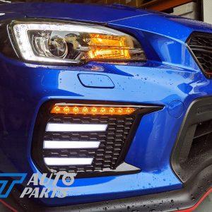 Gloss Black SMOKED 3D DRL Dynamic Signal Front Fog Light Bezels for MY18+ Subaru WRX/STI -0