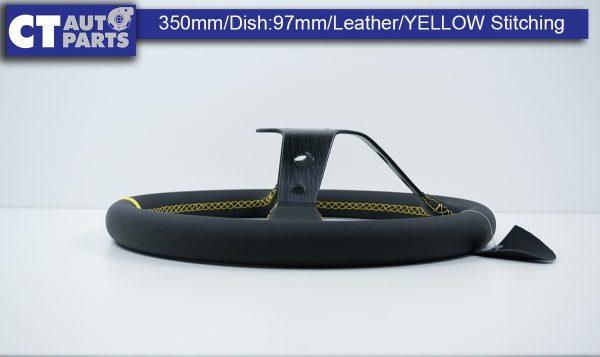 350mm Steering Wheel LEATHER YELLOW Stitching 97mm DEEP Dish -11788