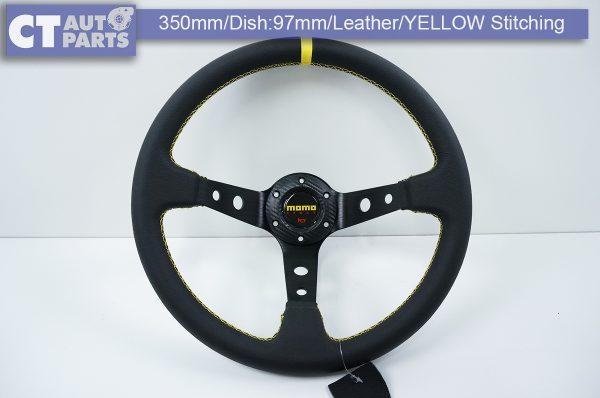 350mm Steering Wheel LEATHER YELLOW Stitching 97mm DEEP Dish -11789