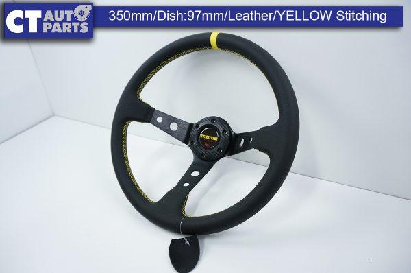 350mm Steering Wheel LEATHER YELLOW Stitching 97mm DEEP Dish -0