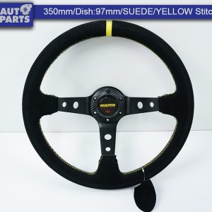 350mm Steering Wheel SUEDE YELLOW Stitching 97mm DEEP Dish -0