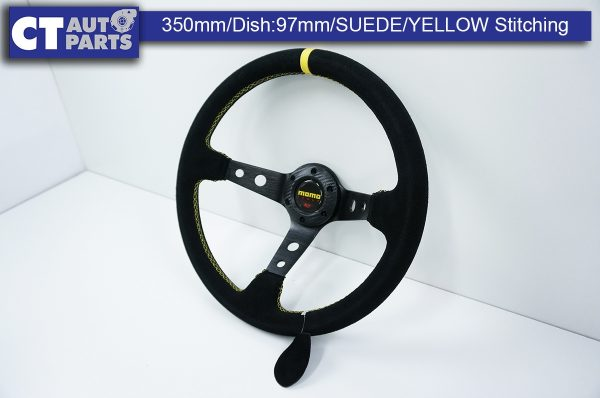 350mm Steering Wheel SUEDE YELLOW Stitching 97mm DEEP Dish -11800