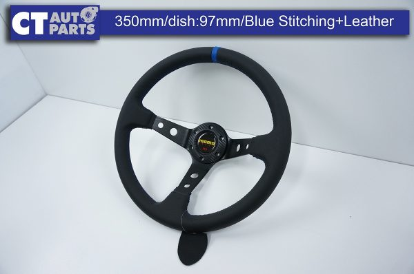 350mm Steering Wheel Leather Blue Stitching 97mm DEEP Dish -11783
