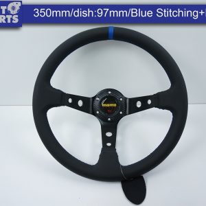 350mm Steering Wheel Leather Blue Stitching 97mm DEEP Dish -0