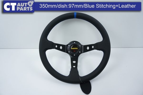 350mm Steering Wheel Leather Blue Stitching 97mm DEEP Dish -0