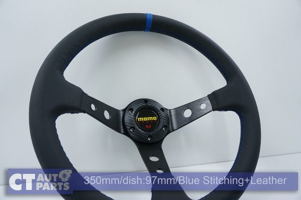 350mm Steering Wheel Leather Blue Stitching 97mm DEEP Dish -11786