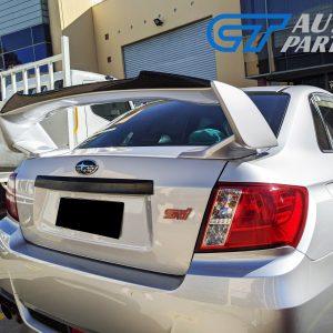 Rowen Style Carbon Fiber Gurney Flap For 08-14 Subaru WRX STI Trunk Spoiler-0